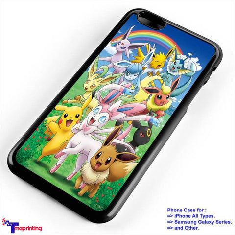 Adorable Eeveelutions and Pikachu - Personalized iPhone 7 Case, iPhone 6/6S Plus, 5 5S SE, 7S Plus, Samsung Galaxy S5 S6 S7 S8 Case, and Other