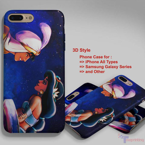 Aladdin and Princess Jasmine 4 - Personalized iPhone 7 Case, iPhone 6/6S Plus, 5 5S SE, 7S Plus, Samsung Galaxy S5 S6 S7 S8 Case, and Other