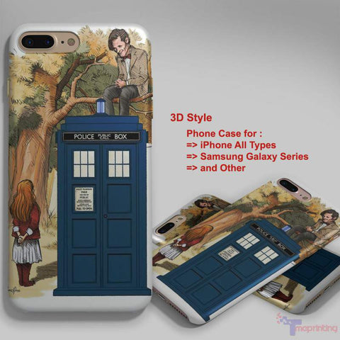 Alice Wonderland and Doctor Who - Personalized iPhone 7 Case, iPhone 6/6S Plus, 5 5S SE, 7S Plus, Samsung Galaxy S5 S6 S7 S8 Case, and Other