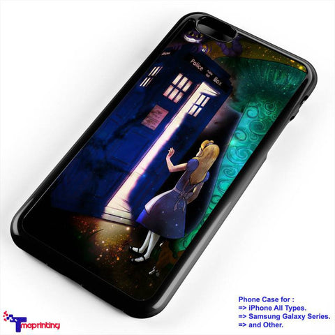 Alice Wonderland on Tardis - Personalized iPhone 7 Case, iPhone 6/6S Plus, 5 5S SE, 7S Plus, Samsung Galaxy S5 S6 S7 S8 Case, and Other