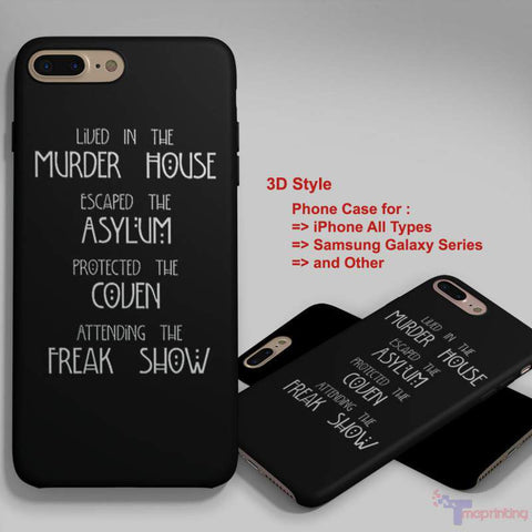American Horror Story Four Seasons Freak Show - Personalized iPhone 7 Case, iPhone 6/6S Plus, 5 5S SE, 7S Plus, Samsung Galaxy S5 S6 S7 S8 Case, and Other