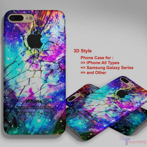 Galaxy Nebula Cracked Out Broken Glass - Personalized iPhone 7 Case, iPhone 6/6S Plus, 5 5S SE, 7S Plus, Samsung Galaxy S5 S6 S7 S8 Case, and Other