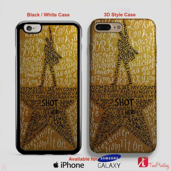 HAMILTON MUSICAL LYRICS Collage Broadway Musical - Personalized iPhone 7 Case, iPhone 6/6S Plus, 5 5S SE, 7S Plus, Samsung Galaxy S5 S6 S7 S8 Case, and Other