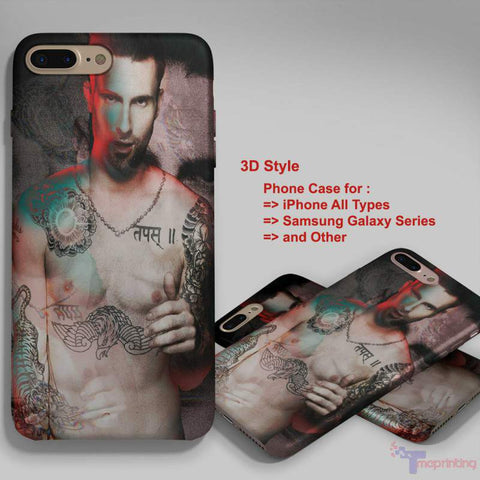 Adam Levine Hollywood Shirtless - Personalized iPhone 7 Case, iPhone 6/6S Plus, 5 5S SE, 7S Plus, Samsung Galaxy S5 S6 S7 S8 Case, and Other