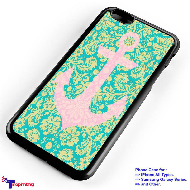 anchor pattern mint  - Personalized iPhone 7 Case, iPhone 6/6S Plus, 5 5S SE, 7S Plus, Samsung Galaxy S5 S6 S7 S8 Case, and Other
