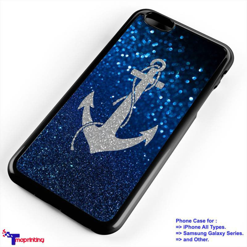 anchor patttern sparkle - Personalized iPhone 7 Case, iPhone 6/6S Plus, 5 5S SE, 7S Plus, Samsung Galaxy S5 S6 S7 S8 Case, and Other
