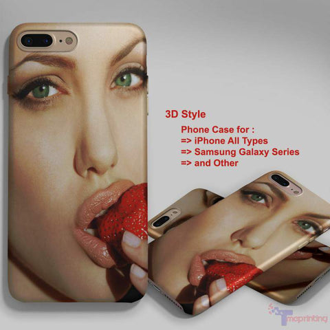 angelina Jolie Strawberry - Personalized iPhone X Case, iPhone Cases, Samsung Galaxy Cases 3216