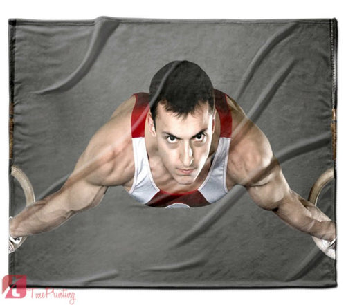 Gymnast on rings Strength Fit fun Personalized Blanket, Custom Blankets, 1