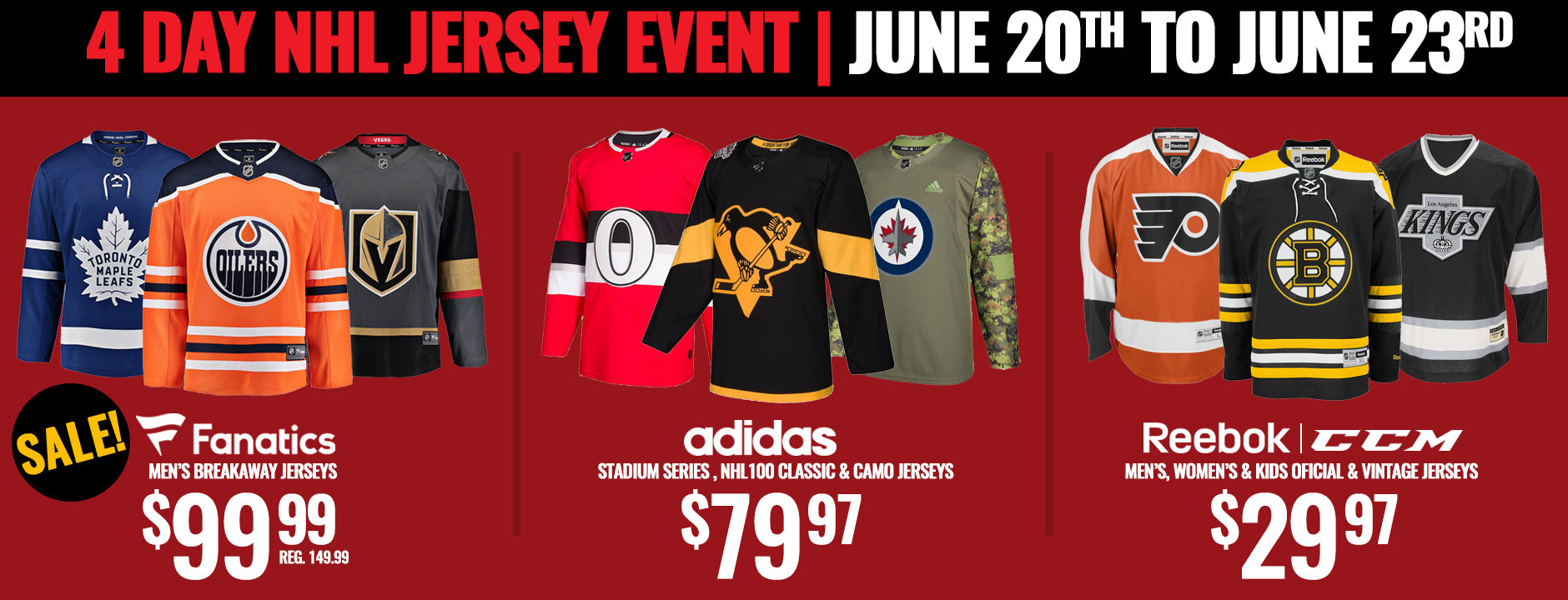 4-Day Jersey Event: Fanatics NHL Jerseys
