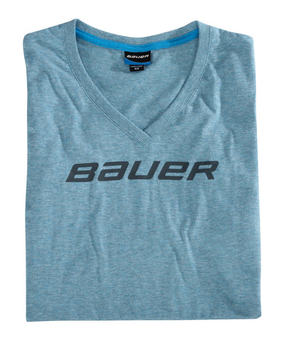 BAUER WOMEN'S V-NECK SS BLUE SR T-SHIRT