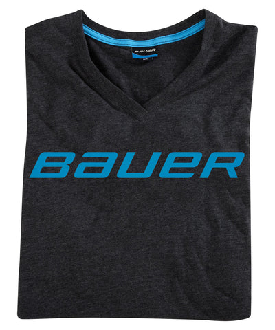 BAUER WOMEN'S V-NECK SS GREY SR T-SHIRT