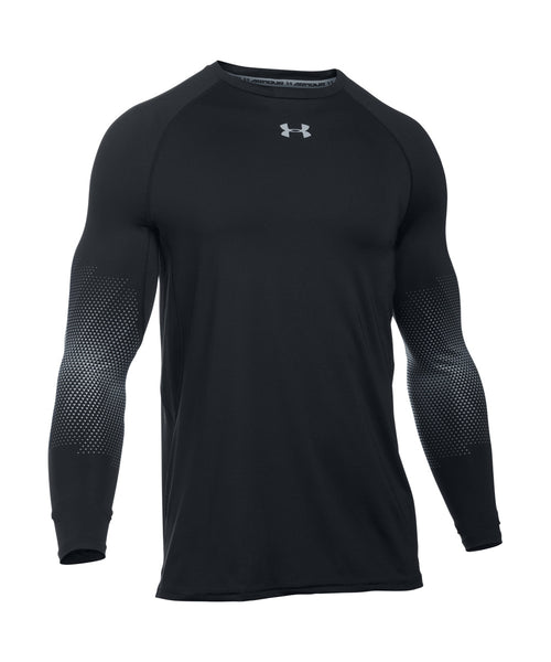UNDER ARMOUR PURESTRIKE GRIPPY FITTED LS SR SHIRT BLACK STEEL