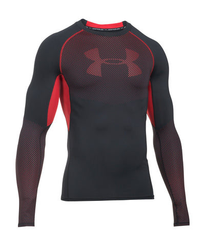 UNDER ARMOUR HEATGEAR ARMOUR GRAPHIC LS SR SHIRT BLACK/RED