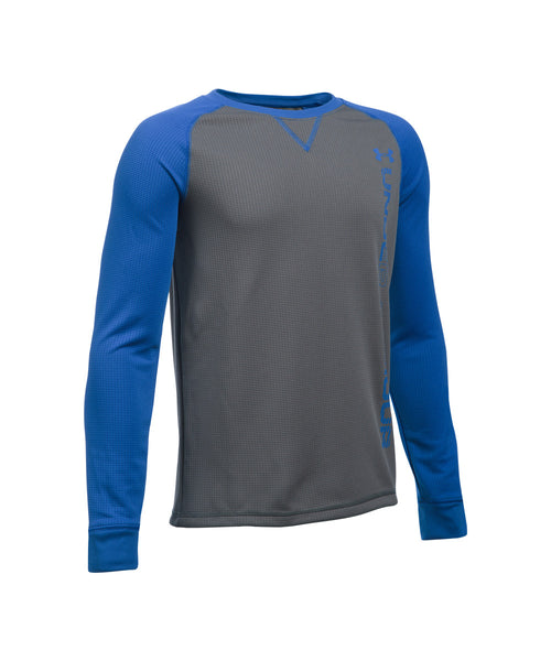 UNDER ARMOUR WAFFLE CREW LS JR SHIRT GRAPHITE BLUE