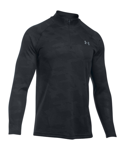 UNDER ARMOUR TECH JACQUARD 1/4 ZIP LS SR SHIRT BLACK