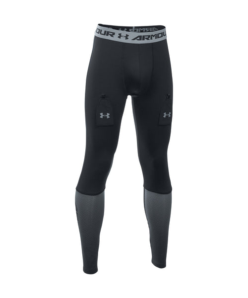 UNDER ARMOUR PURESTRIKE GRIPPY FITTED JR LEGGINGS BLACK