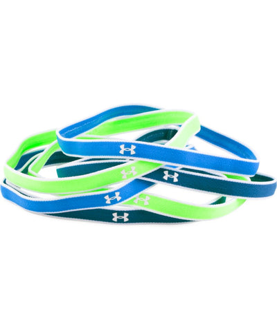 UNDER ARMOUR JR GIRLS MINI HEADBANDS (6PK) LIME GREEN