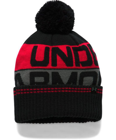 UNDER ARMOUR MEN'S RETRO POM BEANIE 2.0 BLACK
