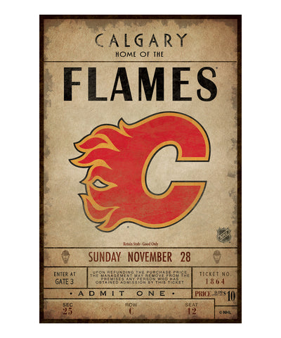 CALGARY FLAMES CLASSIC TICKET WALL CANVAS