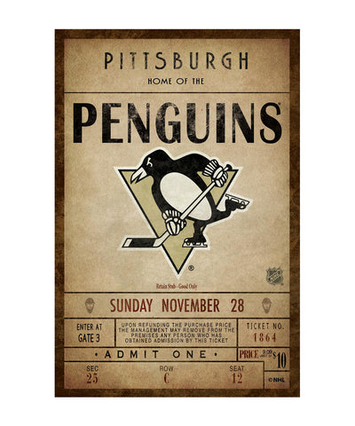 PITTSBURGH PENGUINS CLASSIC TICKET WALL CANVAS