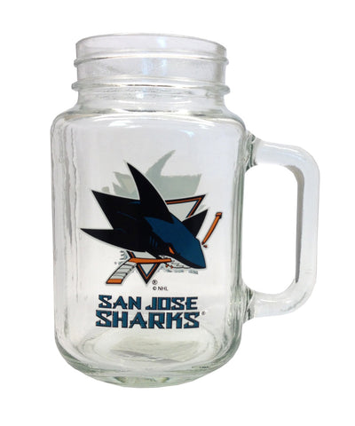 SAN JOSE SHARKS GLASS MASON JAR