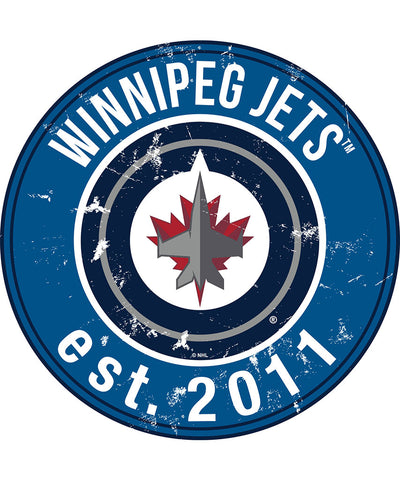 SPORTS ART COLLECTIONS WINNIPEG JETS DISTRESSED ROUND WOOD SIGN