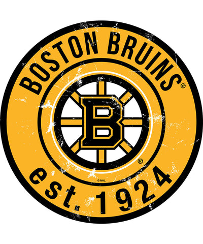 SPORTS ART COLLECTIONS BOSTON BRUINS DISTRESSED ROUND WOOD SIGN