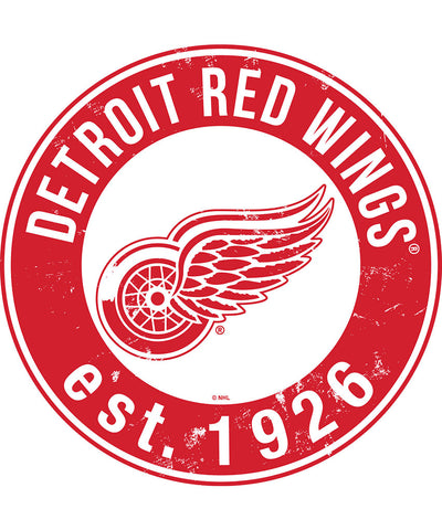 SPORTS ART COLLECTIONS DETROIT RED WINGS DISTRESSED ROUND WOOD SIGN