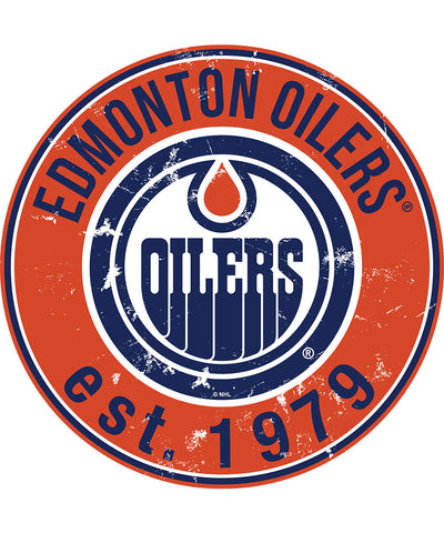 SPORTS ART COLLECTIONS EDMONTON OILERS DISTRESSED ROUND WOOD SIGN