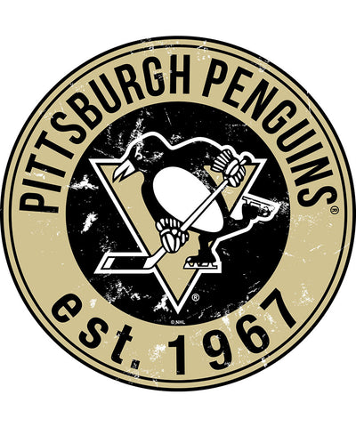 SPORTS ART COLLECTIONS PITTSBURGH PENGUINS DISTRESSED ROUND WOOD SIGN