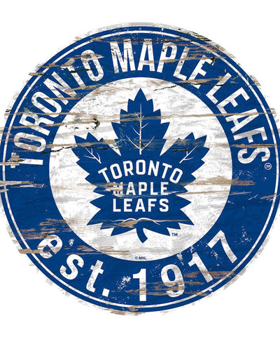 SPORTS ART COLLECTIONS TORONTO MAPLE LEAFS DISTRESSED ROUND WOOD SIGN
