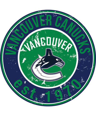 SPORTS ART COLLECTIONS VANCOUVER CANUCKS DISTRESSED ROUND WOOD SIGN