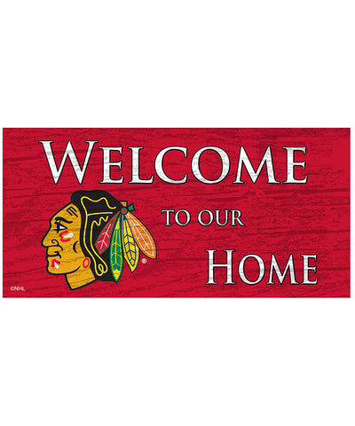 SPORTS ART COLLECTIONS CHICAGO BLACKHAWKS WELCOME TO OUR HOME SIGN