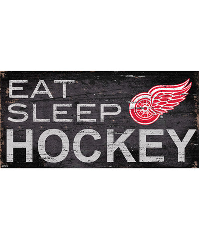 SPORTS ART COLLECTIONS DETROIT RED WINGS EAT, SLEEP, HOCKEY SIGN
