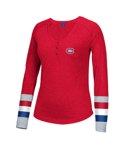 REEBOK MONTREAL CANADIENS JERSEY STRIPED HENLEY WOMEN'S SHIRT