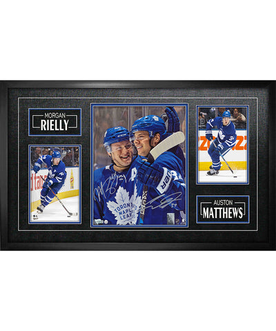 FRAMEWORTH AUSTON MATTHEWS & MORGAN RIELLY TORONTO MAPLE LEAFS FRAMED SIGNED ETCHED - 8X10