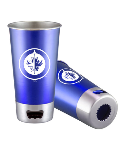 WINNIPEG JETS STAINLESS STEEL BOTTLE OPENER TUMBLER