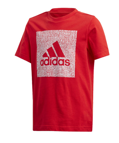 ADIDAS KIDS MH BADGE OF SPORT BOX T SHIRT - RED/WHITE