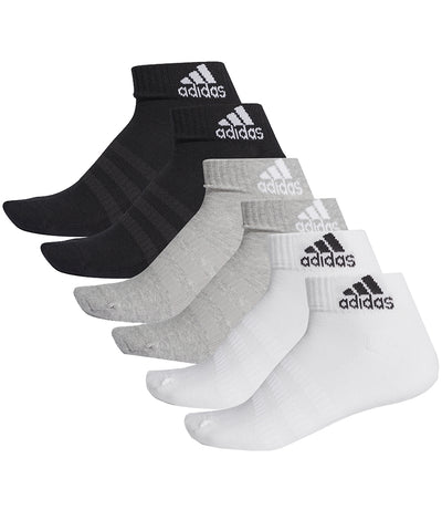 ADIDAS KID'S CUSH ANKLE SOCKS - 6 PACK GREY/WHITE/BLACK
