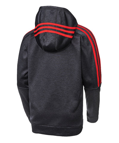 ADIDAS KID'S HOCKEY 3 STRIPE HOODIE - BLACK/RED