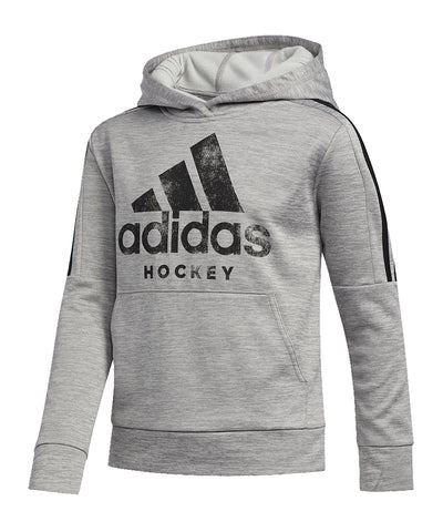 ADIDAS KID'S HOCKEY 3 STRIPE HOODIE - GREY/BLACK