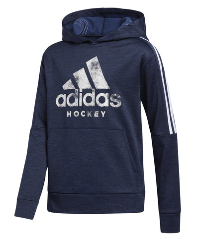 ADIDAS KID'S HOCKEY 3 STRIPE HOODIE - NAVY/WHITE