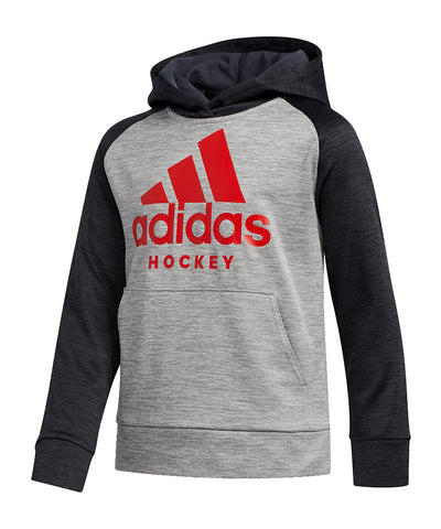 ADIDAS KID'S HOCKEY HOODIE - BLACK/RED