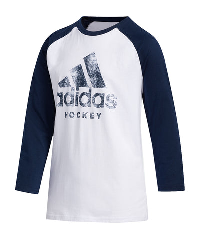 ADIDAS KID'S HOCKEY RAGLAN SHIRT - WHITE/NAVY