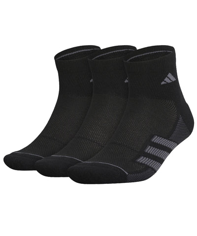 ADIDAS MEN'S 3S ANKLE SOCKS - 3 PACK - BLACK
