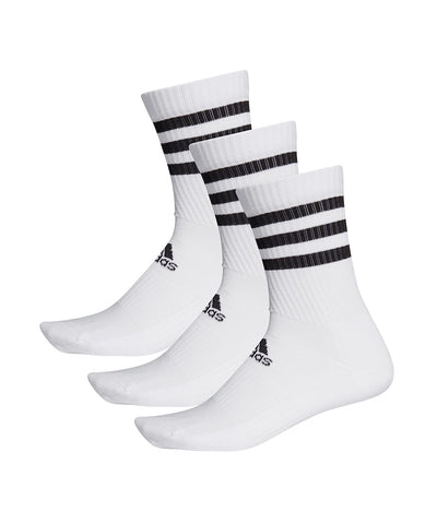 ADIDAS MEN'S 3S CUSHION CREW SOCKS - 3 PACK - WHITE