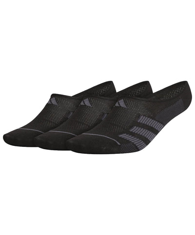 ADIDAS MEN'S 3S NO SHOW SOCKS - 3 PACK - BLACK