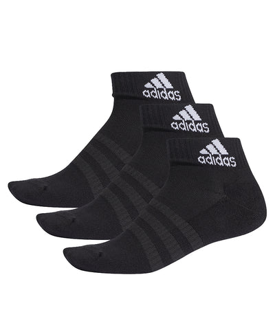 ADIDAS MEN'S CUSH ANKLE SOCKS - 3 PACK BLACK