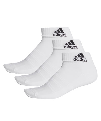 ADIDAS MEN'S CUSH ANKLE SOCKS - 3 PACK WHITE