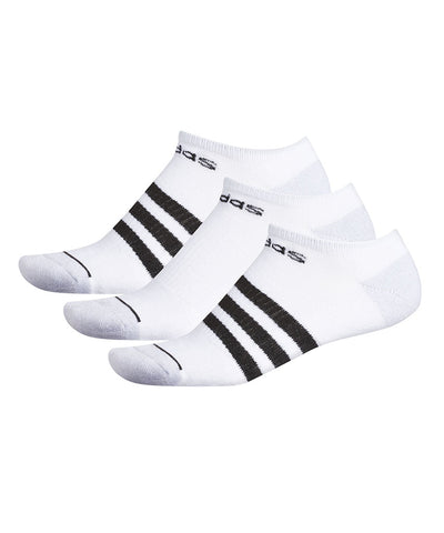 ADIDAS MEN'S MENS 3 STRIPE NO SHOW SOCKS - 3 PACK WHITE